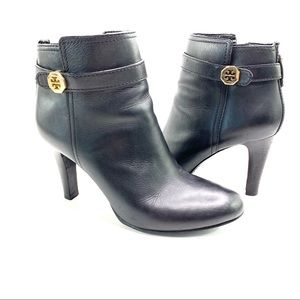 Tory Burch Brita Leather Ankle Zippered Boots
